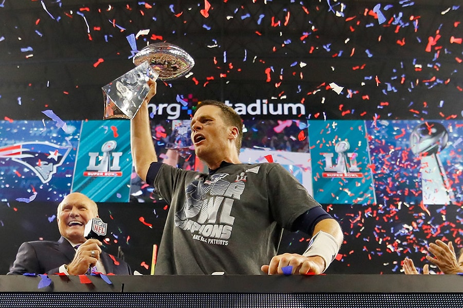 HOUSTON, TX - FEBRUARY 05, NFL: Tom Brady #12 of the New England Patriots celebrates after the Patriots celebrates after the Patriots defeat the Atlanta Falcons 34-28 during Super Bowl 51 at NRG Stadium on February 5, 2017 in Houston, Texas. (Photo by Kevin C. Cox/Getty Images)