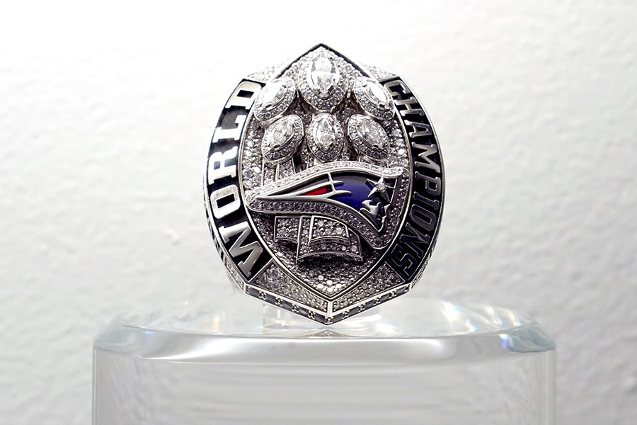 Jan 30, 2020; Miami, Florida, USA; Detailed view of Super Bowl LIII ring to commemorate the New New England Patriots 13-3 victory over the Los Angeles Rams at Mercedes-Benz Stadium in Atlanta, Georgia on Feb. 3, 2019. Mandatory Credit: Kirby Lee-USA TODAY Sports