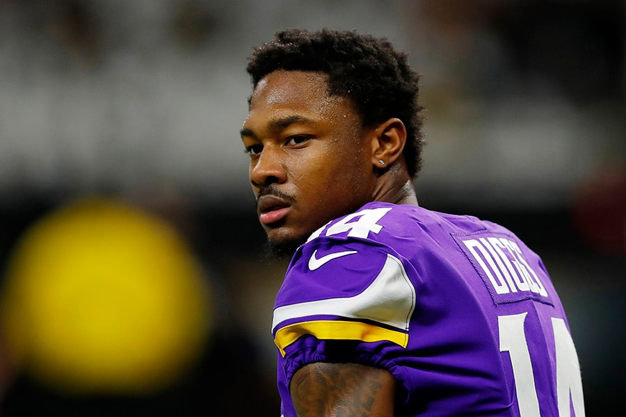 NEW ORLEANS, LOUISIANA - JANUARY 05: Stefon Diggs #14 of the Minnesota Vikings looks on before the NFC Wild Card Playoff game against the New Orleans Saints at Mercedes Benz Superdome on January 05, 2020 in New Orleans, Louisiana. (Photo by Kevin C. Cox/Getty Images)