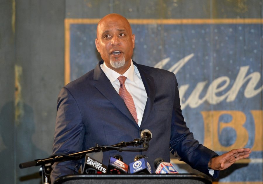 Jun 21, 2017; Kansas City, MO, USA; Major League Baseball Player Association executive director Tony Clark speaks during a presentation at the Negro Leagues Baseball Museum. Mandatory Credit: Denny Medley-USA TODAY Sports