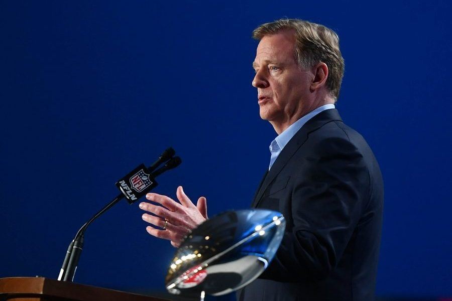 Jan 29, 2020; Miami, Florida, USA;  NF L commissioner Roger Goodell during a press conference before Super Bowl LIV at Hilton Downtown. Mandatory Credit: Jasen Vinlove-USA TODAY Sports