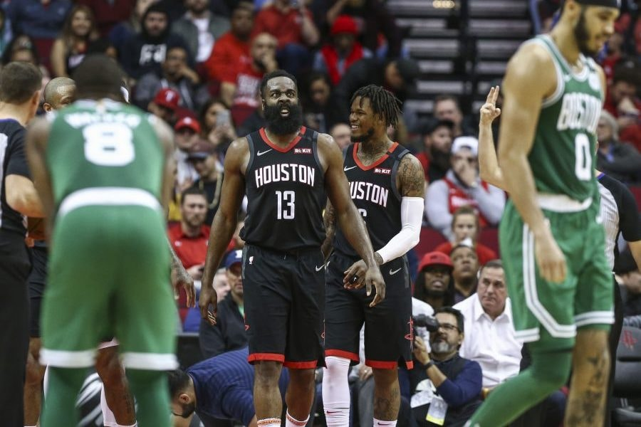 Feb 11, 2020; Houston, Texas, USA; Houston Rockets guard James Harden (13) reacts after a play during the third quarter against the Boston Celtics at Toyota Center. Mandatory Credit: Troy Taormina-USA TODAY Sports
