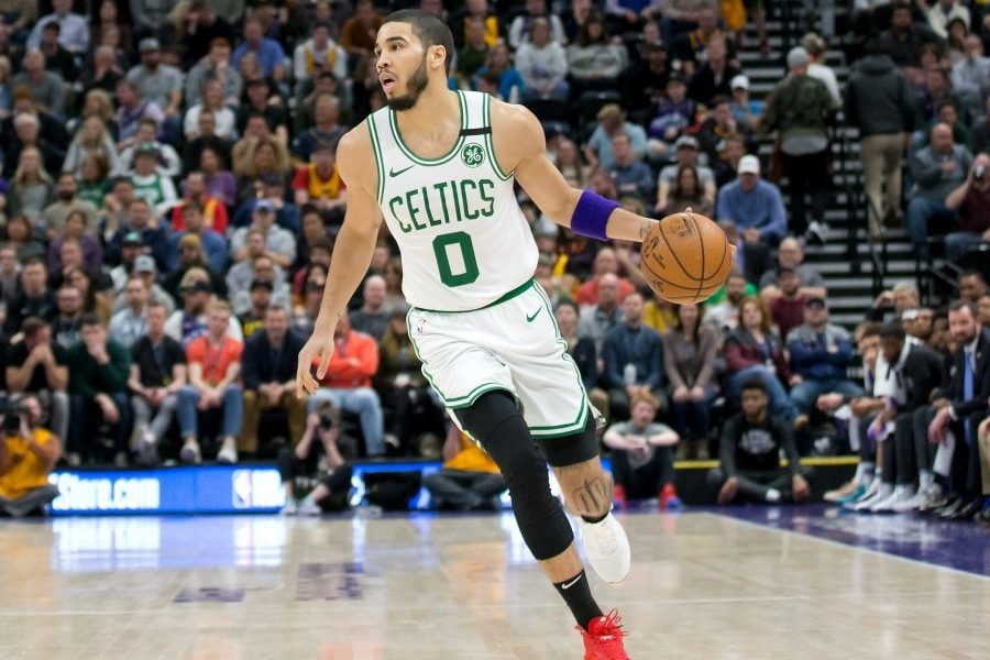 Feb 26, 2020; Salt Lake City, Utah, USA; Boston Celtics forward Jayson Tatum (0) dribbles up the court during the second half against the Utah Jazz at Vivint Smart Home Arena. Mandatory Credit: Russell Isabella-USA TODAY Sports