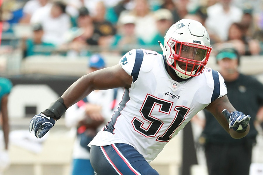 JACKSONVILLE, FL - SEPTEMBER 16: Ja'Whaun Bentley #51 of the New England Patriots in action during their game against the Jacksonville Jaguars at TIAA Bank Field on September 16, 2018 in Jacksonville, Florida. (Photo by Scott Halleran/Getty Images)