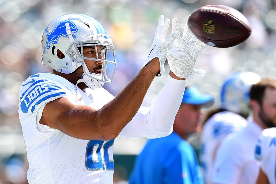 PHILADELPHIA, PENNSYLVANIA - SEPTEMBER 22: Logan Thomas #82 of the Detroit Lions warms up prior to their game against the Philadelphia Eagles at Lincoln Financial Field on September 22, 2019 in Philadelphia, Pennsylvania. (Photo by Emilee Chinn/Getty Images)