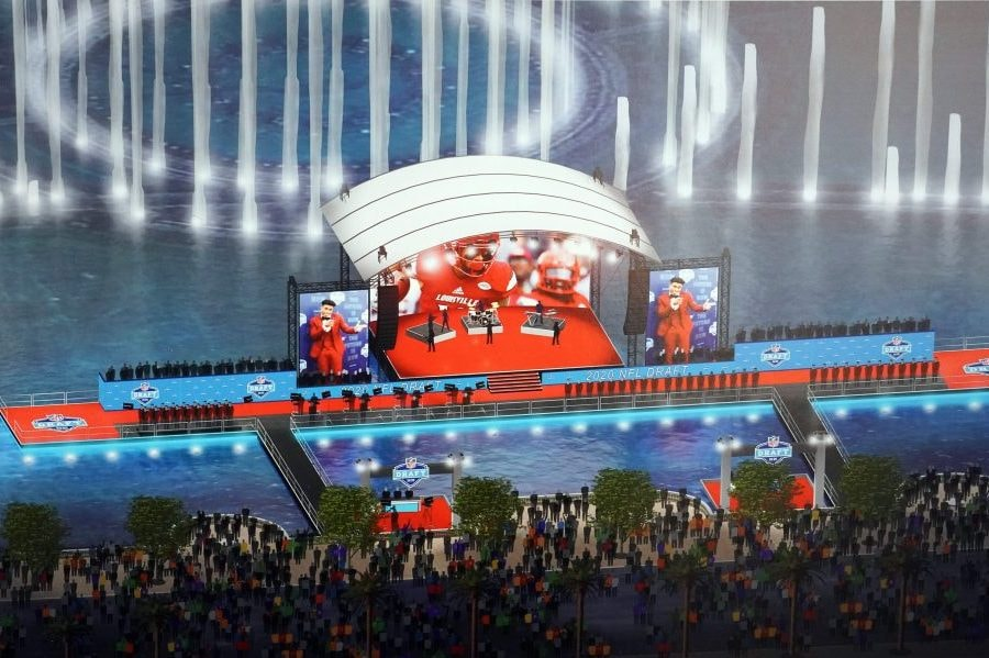 Jan 30, 2020; Miami, Florida, USA; Artist rendering of the 2020 NFL Draft stage in Las Vegas on the lake in front of the Bellagio hotel with boats ferrying players and VIPs to the action on display at he Super Bowl LIV Experience at the Miami Beach Convention Center. Mandatory Credit: Kirby Lee-USA TODAY Sports