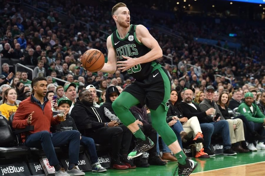 Mar 8, 2020; Boston, Massachusetts, USA; Boston Celtics forward Gordon Hayward (20) saves the ball from going out of bounds during the first half against Oklahoma City Thunder at TD Garden. Mandatory Credit: Bob DeChiara-USA TODAY Sports