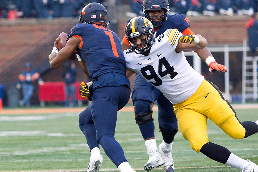 NFL Draft: Iowa defensive lineman A.J. Epenesa is a selection on the Felger & Mazz Big Board. (Mike Granse-USA TODAY Sports)