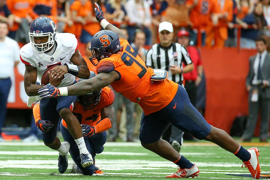 NFL Draft: Syracuse defensive lineman Alton Robinson is a selection on the Felger & Mazz Big Board. (Photo by Rich Barnes/Getty Images)