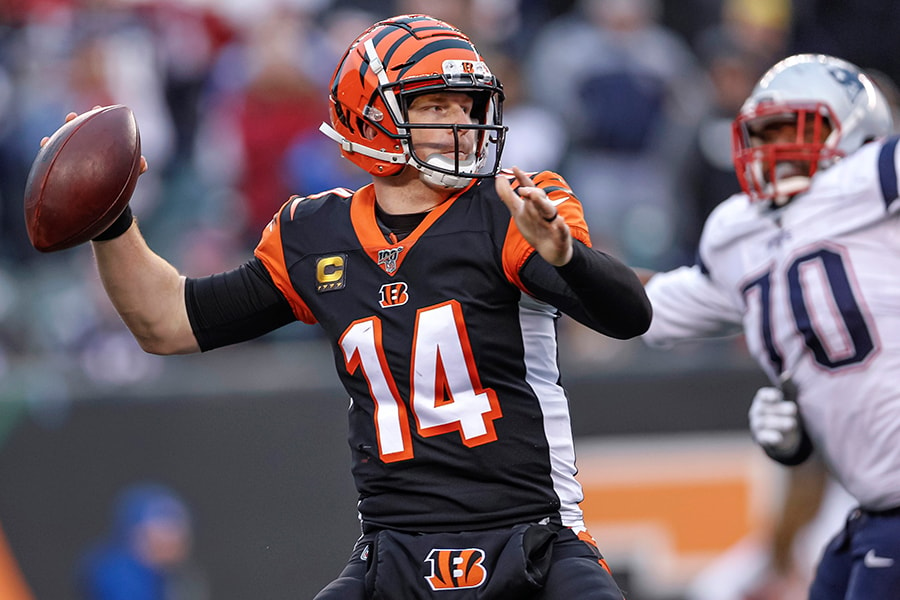 Does Bill Belichick still have quarterback Andy Dalton in his sights? (Photo by Michael Hickey/Getty Images)
