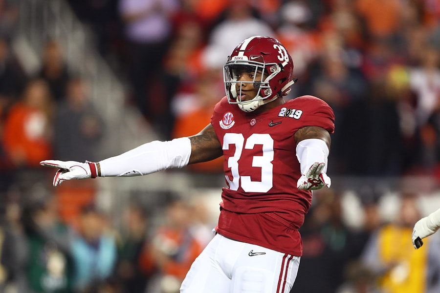 Jan 7, 2019; Santa Clara, CA, USA; Alabama Crimson Tide linebacker Anfernee Jennings (33) celebrates a play against the Clemson Tigers in the 2019 College Football Playoff Championship game at Levi's Stadium. Mandatory Credit: Mark J. Rebilas-USA TODAY Sports