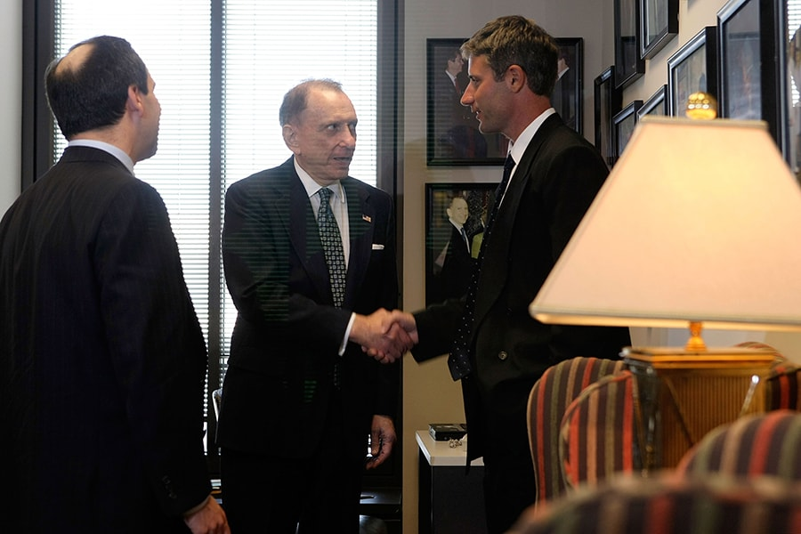WASHINGTON - MAY 13: U.S. Sen. Arlen Specter (R-PA) (L) shakes hands with former Patriots video assistant Matt Walsh (R) after their meeting on Capitol Hill May 13, 2008 in Washington, DC. The New England Patriots were accused of secretly videotaping other team coaches' hand signals, which is a violation of rules of NFL. (Photo by Alex Wong/Getty Images)