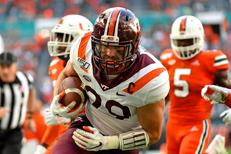 Oct 5, 2019; Miami Gardens, FL, USA; Virginia Tech Hokies tight end Dalton Keene (29) carries the ball for a touchdown against the Miami Hurricanes during the first half at Hard Rock Stadium. Mandatory Credit: Steve Mitchell-USA TODAY Sports