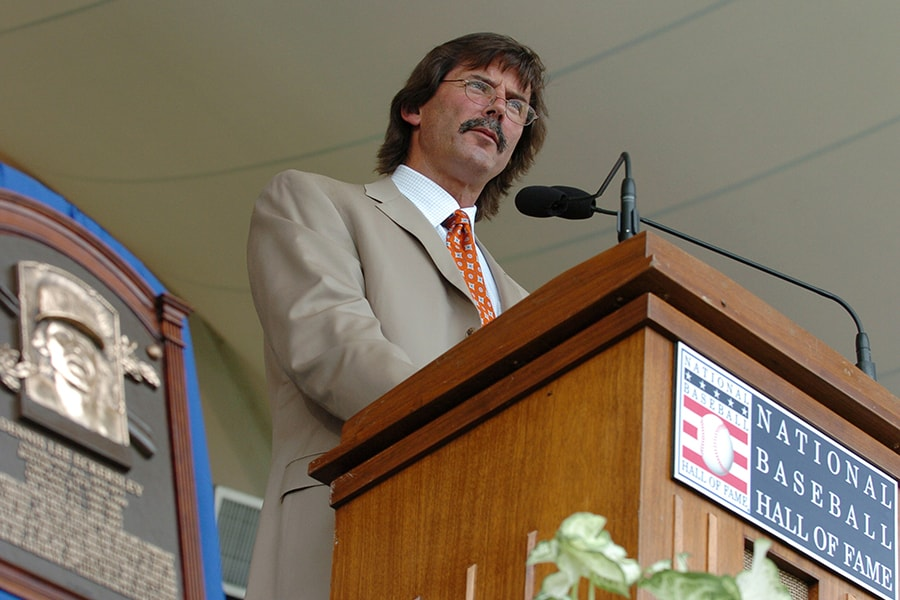 Pitcher Dennis Eckersley is inducted into the Baseball Hall of Fame July 25, 2004 in Cooperstown, New York. (Photo by A. Messerschmidt/Getty Images)