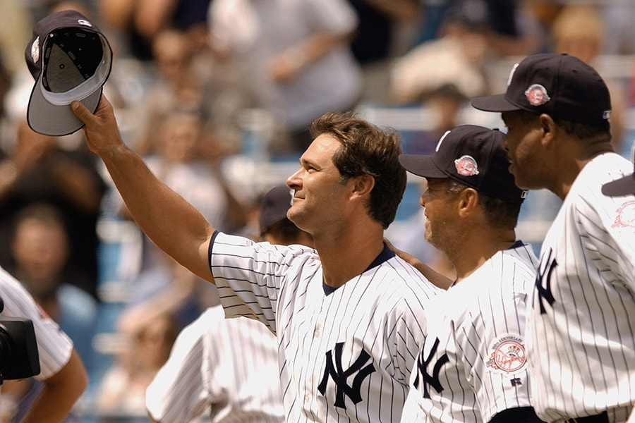 BRONX, NY - JULY 19: Former New York Yankee Don Mattingly acknowledges the crowd as he is introduced during the club's 57th Annual Old Timers' Day festivities before the game between the Cleveland Indians and the New York Yankees on June 28, 2003 at Yankee Stadium in Bronx, New York. The Yankees defeated the Indians 7-4. (Photo by M. David Leeds/Getty Images)