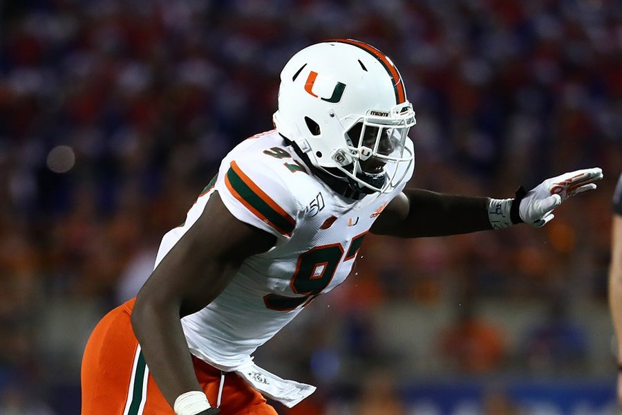 NFL Draft: Miami defensive lineman Jonathan Garvin is a selection on the Felger & Mazz Big Board. (Kim Klement-USA TODAY Sports)