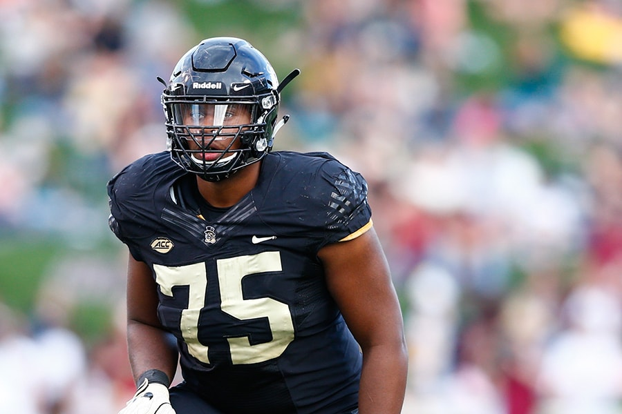 Sep 30, 2017; Winston-Salem, NC, USA; Wake Forest Demon Deacons offensive lineman Justin Herron (75) lines up during the game against the Florida State Seminoles at BB&T Field. Mandatory Credit: Jeremy Brevard-USA TODAY Sports