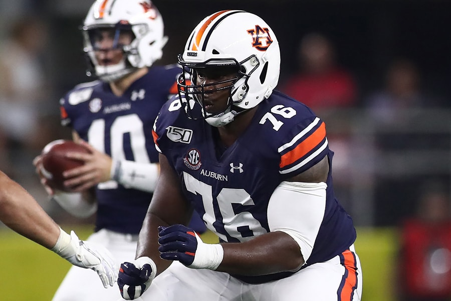 NFL Draft: Auburn tackle Prince Tega Wanogho is a selection on the Felger & Mazz Big Board. (Photo by Ronald Martinez/Getty Images)