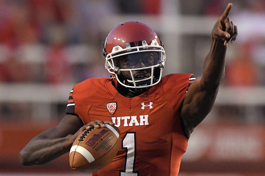 NFL Draft: Utah quarterback Tyler Huntley is a selection on the 2020 Felger & Mazz Big Board. (Photo by Gene Sweeney Jr./Getty Images)