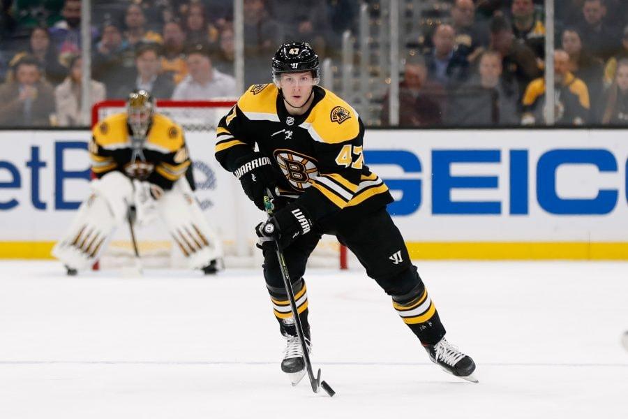 Feb 27, 2020; Boston, Massachusetts, USA; Boston Bruins defenseman Torey Krug (47) skates the puck during the second period against the Dallas Stars at TD Garden. Mandatory Credit: Winslow Townson-USA TODAY Sports