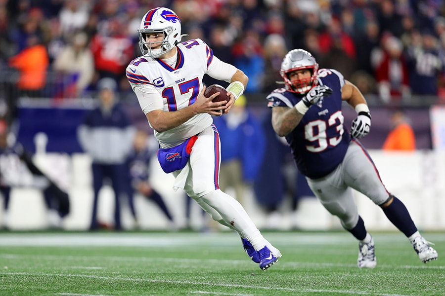 FOXBOROUGH, MASSACHUSETTS - DECEMBER 21: Josh Allen #17 of the Buffalo Bills rushes the ball during the game against the New England Patriots at Gillette Stadium on December 21, 2019 in Foxborough, Massachusetts. The Patriots defeat the Bills 24-17. (Photo by Maddie Meyer/Getty Images)