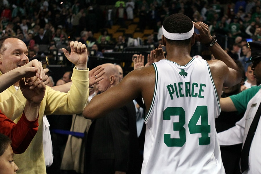 BOSTON - APRIL 27: Paul Pierce #34 of the Boston Celtics celebrates the win with fans after Game Five of the Eastern Conference Quarterfinals of the 2010 NBA playoffs at the TD Garden on April 27, 2010 in Boston, Massachusetts. The Celtics defeated the Miami Heat 96-86 to win the series. NOTE TO USER: User expressly acknowledges and agrees that, by downloading and or using this photograph, User is consenting to the terms and conditions of the Getty Images License Agreement. (Photo by Elsa/Getty Images)
