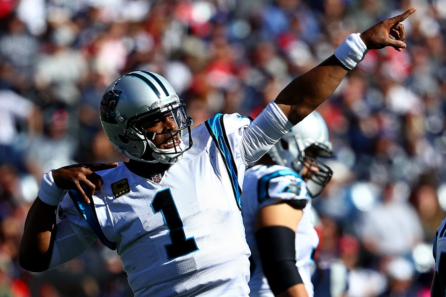 FOXBORO, MA - OCTOBER 1: Cam Newton #1 of the Carolina Panthers celebrates during the fourth quarter against the New England Patriots at Gillette Stadium on October 1, 2017 in Foxboro, Massachusetts.(Photo by Maddie Meyer/Getty Images)