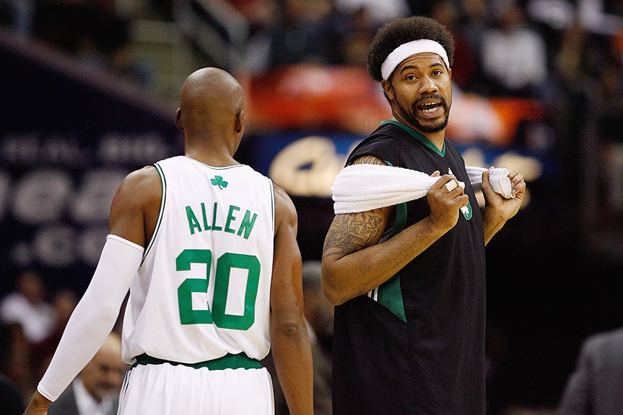 CLEVELAND - OCTOBER 27: Ray Allen #20 and Rasheed Wallace #30 of the Boston Celtics talk during the game against the Cleveland Cavaliers on October 27, 2009 at Quicken Loans Arena in Cleveland, Ohio. The Celtics won 95-89. NOTE TO USER: User expressly acknowledges and agrees that, by downloading and or using this photograph, User is consenting to the terms and conditions of the Getty Images License Agreement. (Photo by Gregory Shamus/Getty Images)