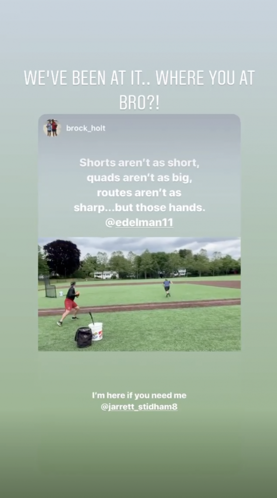 Jarrett Stidham has been putting in work with Patriots receiver Julian Edelman. (@jarrett_stidham8/Instagram)