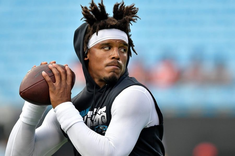 CHARLOTTE, NORTH CAROLINA - SEPTEMBER 12: Cam Newton #1 of the Carolina Panthers warms up before their game against the Tampa Bay Buccaneers at Bank of America Stadium on September 12, 2019 in Charlotte, North Carolina. (Photo by Grant Halverson/Getty Images)