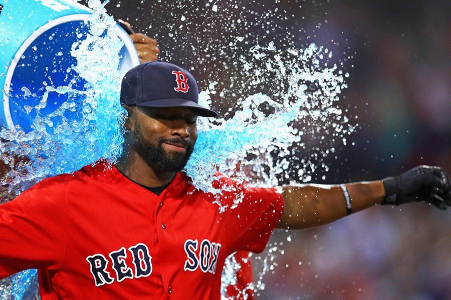 BOSTON, MA - SEPTEMBER 16: Jackie Bradley Jr. #25 of the Boston Red Sox is doused in Powerade after Boston Red Sox defeat the New York Yankees 7-4 at Fenway Park on September 16, 2016 in Boston, Massachusetts. (Photo by Maddie Meyer/Getty Images)