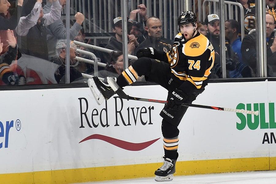Jan 9, 2020; Boston, Massachusetts, USA; Boston Bruins left wing Jake DeBrusk (74) celebrates after scoring a goal during the second period against the Winnipeg Jets at TD Garden. Mandatory Credit: Bob DeChiara-USA TODAY Sports