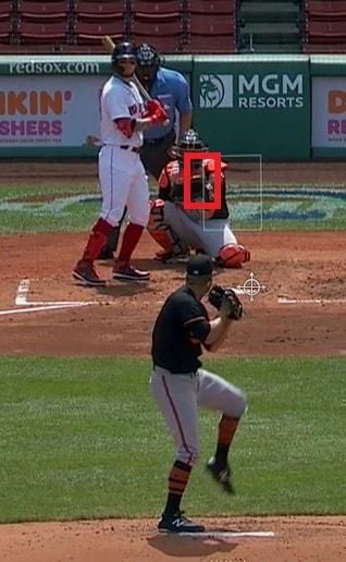 Alex Verdugo bats against the Baltimore Orioles. (Credit: NESN)