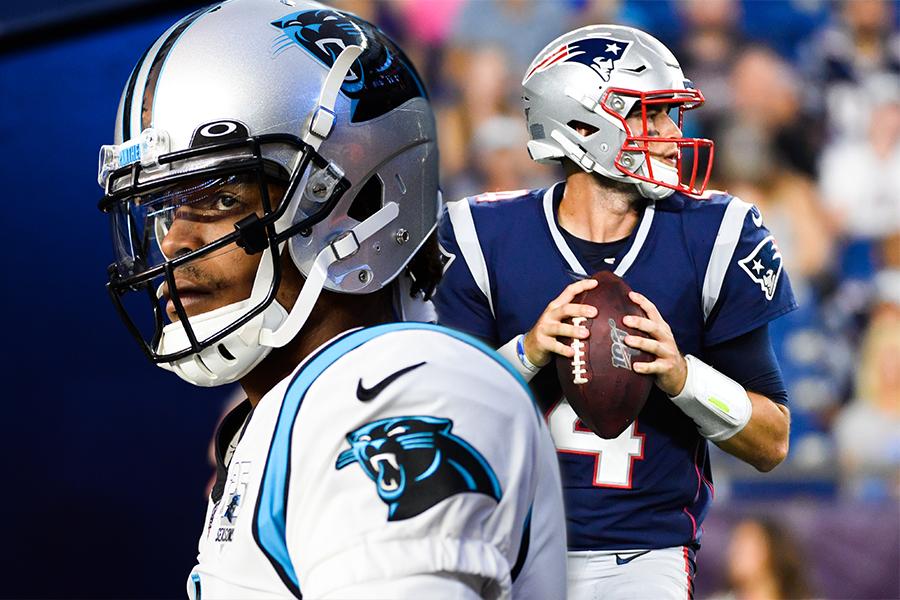 Cam Newton and Jarrett Stidham headline the Patriots' quarterback competition in 2020. (Getty Images)