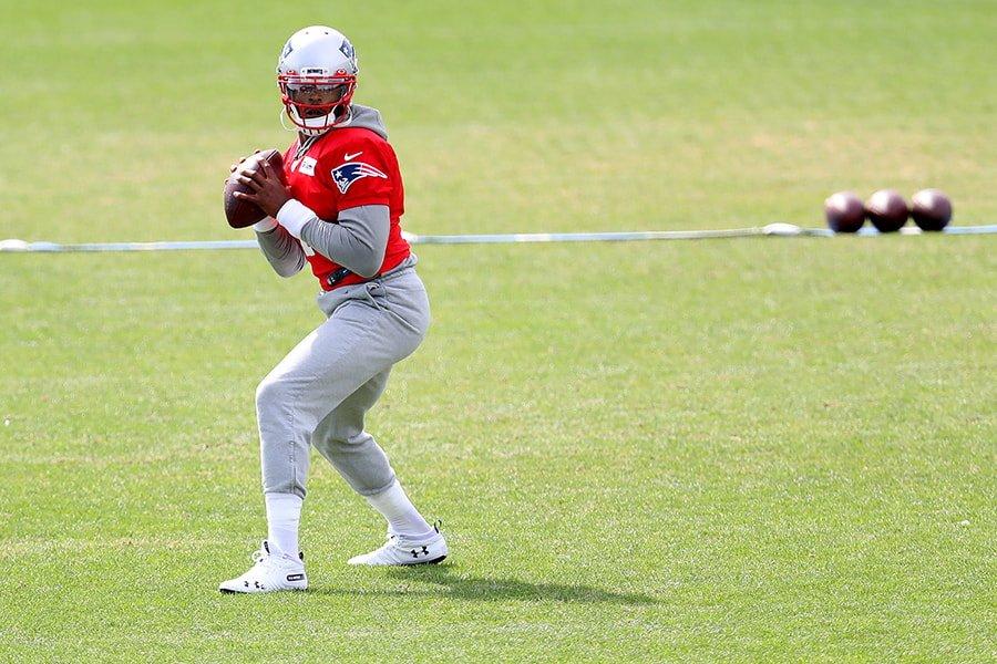 Cam Newton tops the Patriots quarterback depth chart in our latest roster projection. (Maddie Meyer/Getty Images)