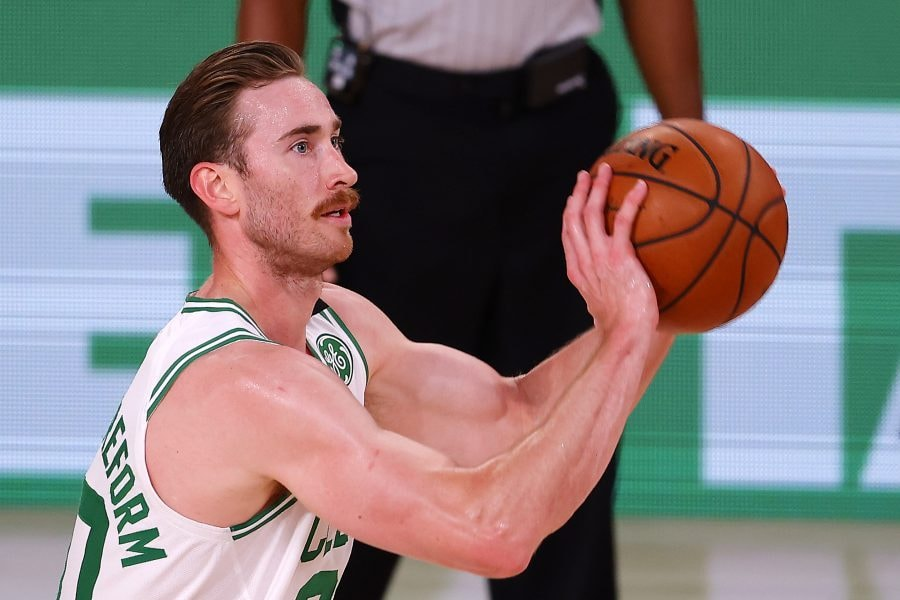 LAKE BUENA VISTA, FLORIDA - AUGUST 11: Gordon Hayward shoots the ball during the third quarter after the game at The Arena at ESPN Wide World Of Sports Complex on August 11, 2020 in Lake Buena Vista, Florida. NOTE TO USER: User expressly acknowledges and agrees that, by downloading and or using this photograph, User is consenting to the terms and conditions of the Getty Images License Agreement. (Photo by Mike Ehrmann/Getty Images)