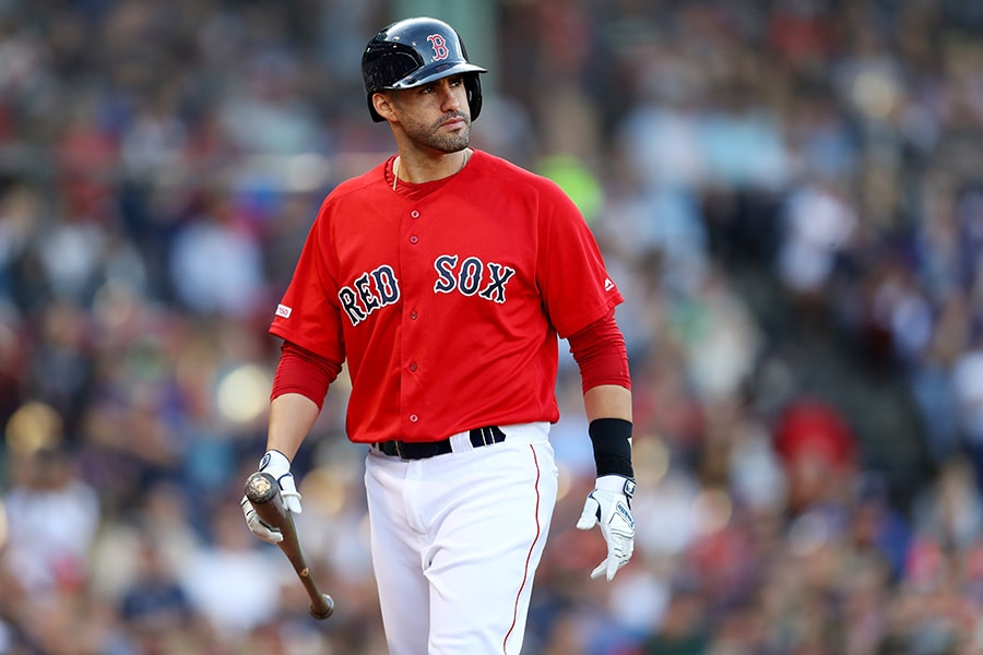BOSTON, MASSACHUSETTS - SEPTEMBER 29: J.D. Martinez #28 of the Boston Red Sox looks on during the sixth inning against the Baltimore Orioles at Fenway Park on September 29, 2019 in Boston, Massachusetts. (Photo by Maddie Meyer/Getty Images)