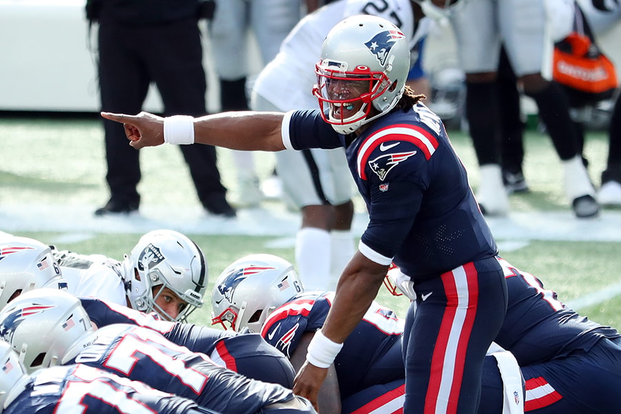FOXBOROUGH, MASSACHUSETTS - SEPTEMBER 27: Cam Newton #1 of the New England Patriots gestures at the line of scrimmage during the second half against the Las Vegas Raiders at Gillette Stadium on September 27, 2020 in Foxborough, Massachusetts. (Photo by Maddie Meyer/Getty Images)