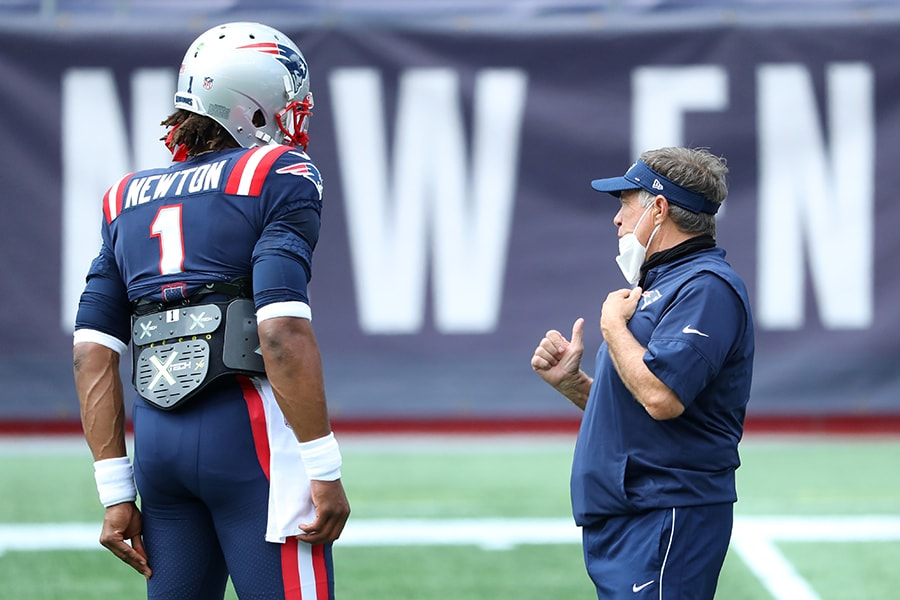 FOXBOROUGH, MASSACHUSETTS - SEPTEMBER 13: Cam Newton #1 of the New England Patriots talks with head coach Bill Belichick before the game against the Miami Dolphins at Gillette Stadium on September 13, 2020 in Foxborough, Massachusetts. (Photo by Maddie Meyer/Getty Images)
