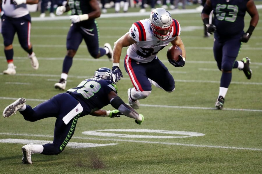 Rex Burkhead led all Patriots running backs with 51 offensive snaps against the Seahawks in the new Cam Newton-led offense. (Photo by Abbie Parr/Getty Images)