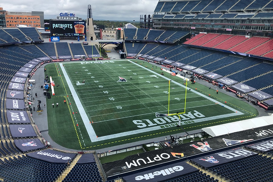 A view of Gillette Stadium on Sunday, Sept. 27, 2020 before the Patriots take on the Raiders in Week 3 of the 2020 season. (Matt Dolloff/WBZ-FM)