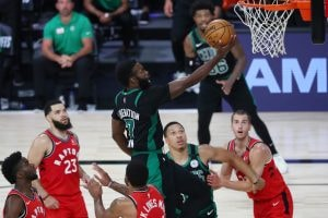 Jaylen Brown scores against the Raptors during Game 5 in the 2020 NBA Playoffs. (Kim Klement-USA TODAY Sports)