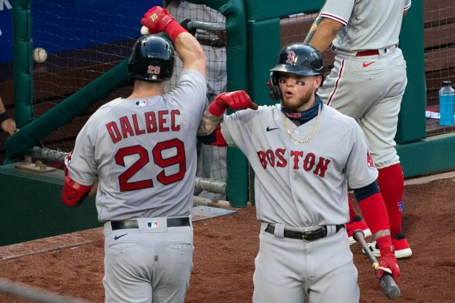 Sep 8, 2020; Philadelphia, Pennsylvania, USA; Boston Red Sox third baseman Bobby Dalbec (29) celebrates with center fielder Alex Verdugo (99) after hitting a home run during the sixth inning against the Philadelphia Phillies at Citizens Bank Park. Mandatory Credit: Bill Streicher-USA TODAY Sports