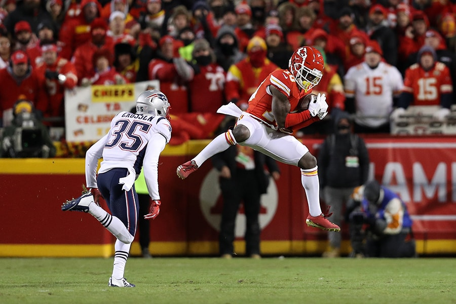 Chiefs receiver Tyreek Hill made only one catch against the Patriots in the 2018 AFC title game, and it was without Jonathan Jones covering him. (Photo by Patrick Smith/Getty Images)