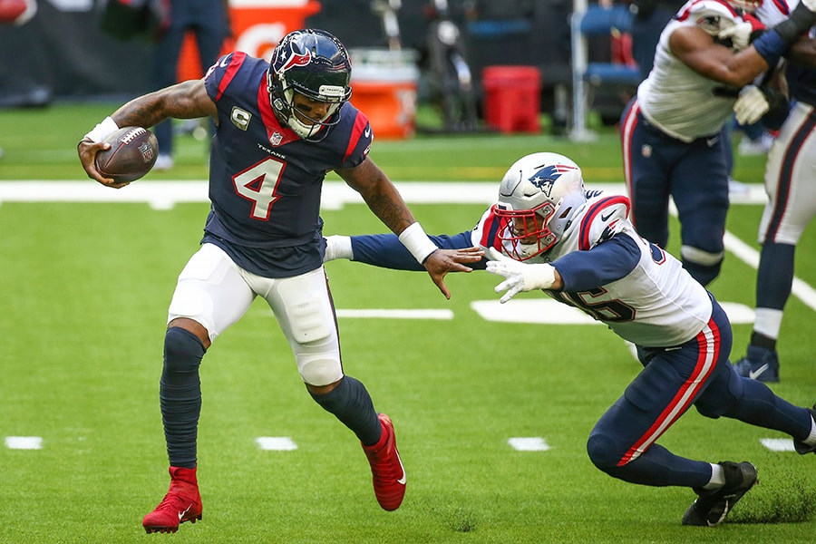 The Patriots had trouble containing Deshaun Watson for much of the game as the Texans won by a 27-20 final score. (Troy Taormina-USA TODAY Sports)