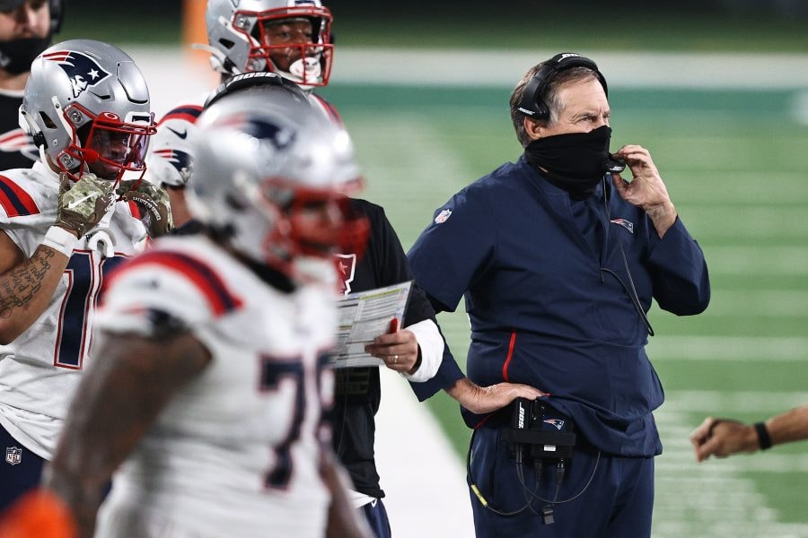 Bill Belichick has a chance to find out what he has on the Patriots receiver depth chart in the coming weeks. (Elsa/Getty Images)