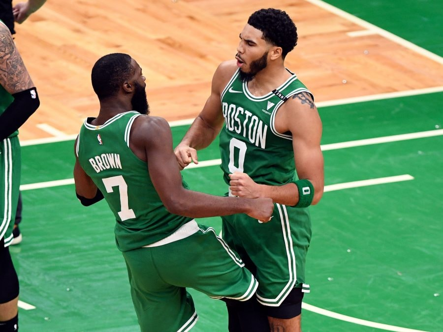 Dec 23, 2020; Boston, MassachuseJayson Tatum is the man, but Jaylen Brown is playing like a star in his own right - and giving the Celtics hope for a homegrown dynamic duo. (Brian Fluharty-USA TODAY)tts, USA; Boston Celtics forward Jayson Tatum (0) celebrates with guard Jaylen Brown (7) after scoring against the Milwaukee Bucks during the second half at the TD Garden. Mandatory Credit: Brian Fluharty-USA TODAY Sports