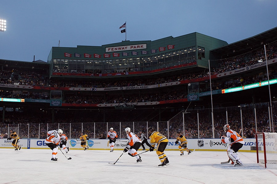 Ten years after playing the Flyers at Fenway Park, the Bruins and Philly have an outdoor rematch set for Lake Tahoe. (Jim McIsaac/Getty Images)