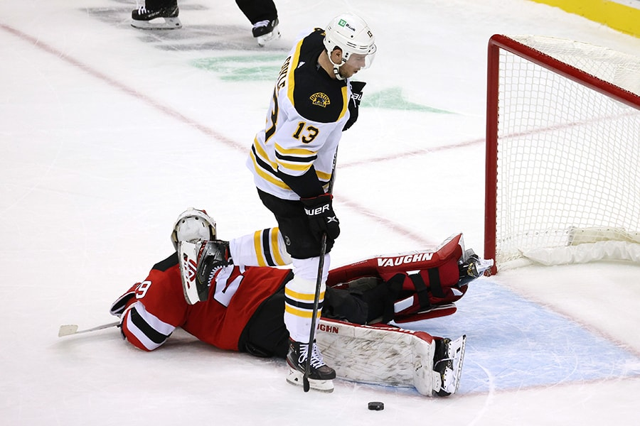 The Bruins need more out of Charlie Coyle and other established forwards offensively. (Photo by Elsa/Getty Images)
