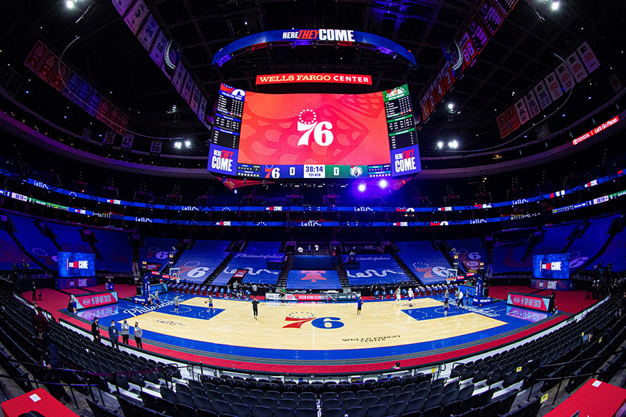 View of the Wells Fargo Center in Philadelphia before a preseason game between the Sixers and Celtics. (Bill Streicher-USA TODAY)